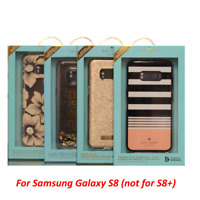 New Kate Spade NY For Samsung Galaxy S8 Saffiano Black / Gold / Glitter Case