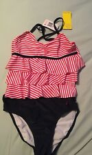 NEW Girls Nautica Tankini Swimsuit, Size 10, Red White Blue Patriotic NWT