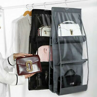 UK Hanging Handbag Organizer 6 Pockets Shelf Bag Storage Holder Wardrobe Closets