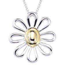 Big Flower Pendant Necklace Women 925 Sterling Silver Plated Hot Sell New Shape