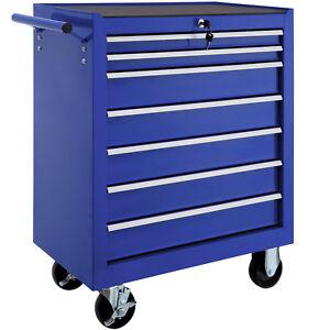 Carrello portautensili porta attrezzi con ruote officina 7 cassetti mobile blu n