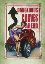 premier garage pin up girl dangerous curves ahead metal sign