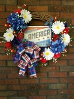 Handmade Patriotic Grapevine Wreath, 4th of July, Memorial Day, Red White Blue