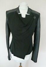 FAB Karen Millen Black Faux Leather Panel Detail Drape Neck Jacket Size 10 VGC