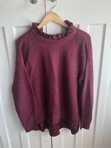 Next Ladies Purple Mock Shirt Jumper Size M BNWT