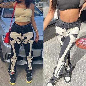 Womens Ladies Skeleton Pattern Gothic Denim Jeans Pants Long Tousers Streetwear