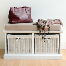 Tetbury White Storage Bench with Cushion, ASSEMBLED bench with wicker baskets
