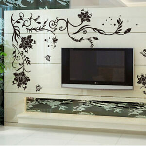 Black Flower Decoration Wall Sticker Home Decor Living Room Wall Decoration CW