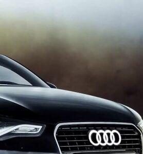 Car Led Grille Logo Emblem Illuminated Lights For Audi Q3 Q5 Q7 A6 A7 28.8X9.9CM