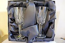 """Waterford Crystal Pair LISMORE PATTERN ~ White Wine Glasses ~ Boxed ~ 5"""" Tall"""