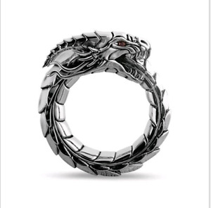AU Men Stainless Steel silver Dragon Rings Hip Hop Party Fashion Punk Ring Gift