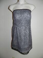Davids Bridal Dress Plus Size 20 Strapless Mercury Gray Lace Bridesmaid NWT $149