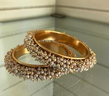 Traditional Ethnic 2 PC Gold Plated Copper Metal Kada Jewelery Bangles Bracelet