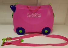 Trunki Ride On Pink Hand Luggage Pull Along Kids Suitcase (Single strap)
