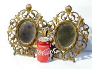 Pair of 19thC Gilt Brass Hinged Easel Framed Oval Mirrors with Leaf Design