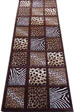 Zebra Giraffe Leopard Skin Mix Brown Woven 3x8 Area Rug Actual Size 2'7 x 7'4