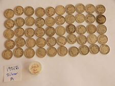 ROLL 1951 S KEY DATE Silver Roosevelt Dimes Circulated 50 Coins FREE SHIPPNG