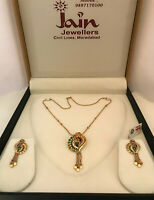 18 Kt Solid Yellow Gold Women's Necklace Jewelry Set Earrings & Chain Pendant CZ