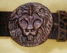 Gürtelschließe Löwe, Gürtelschnalle, für Wechselgürtel, Koppelschließe, Bronze