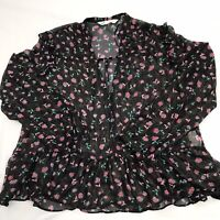 ZARA Ladies Blouse Top - M - Black - Summer Floral Semi Sheer Lightweight -A9-06