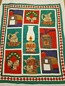 Farm Quilt Blanket Red Green Gas Lamp Water Pitcher Wreath