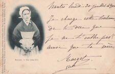 Carte Postale ancienne année 1900 Roscoff Une jeune Fille ( Finistère )