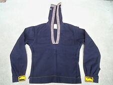 Vtg Mens US Navy Military Sailor Uniform Jumper Blue Wool Cracker Jacket Size 36