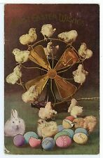 Airstream Art-Deco Fan w Easter Chicks -- Vintage Postcard ca. 1909