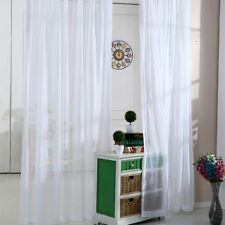 White Sheer Curtains Simple Solid Rod Pocket Door Drape Customized Size 1 Piece