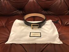 $565 GUCCI DARK BROWN SIGNATURE LEATHER CLASSIC GOLD HARDWARE BELT sz 44 110cm