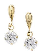 Yellow Gold Round Butterfly Drop/Dangle Fine Gemstone Earrings