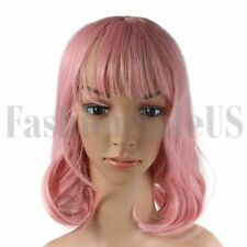 "14"" Fashion Women Girls Full Wig Short Curly Pink Wig Cosplay Party Costume Hair"