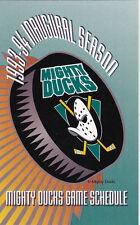 1993-94 Mighty Ducks Of Anaheim Hockey Pocket Schedule - Inaugural Season