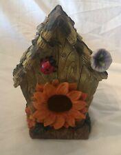 "Vintage 7"" Pretty Bird House Hut with Flowers and Ladybug Decor"