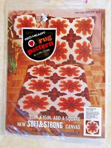RED HEART LATCH HOOK FANTASIA RUG CANVAS 15 IN. X 15 IN. VINTAGE COATS & CLARK