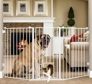 Pet Safety Gate Walk-Thru Adjustable Durable Extra Tall w/ Door Baby Dog Barrier