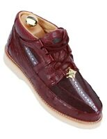 Los Altos Genuine Exotic Stingray Ostrich Skin Mens Burgundy Casual Trendy Shoe