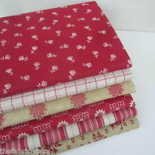 Anna Griffin Fleur Rouge DESIGNER Vintage Style Fabric Fat Quarter Bundle X 6
