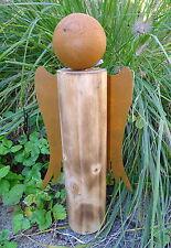Holz-Engel mit Flügel und Kopf aus Metall-Rost h=38cm Dekofigur Weihnachten*