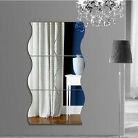 6PCS 3D Mirror Wall Sticker Waves Shape Self-adhesive Home Bedroom Wall Decor US