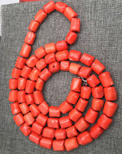 "Natural Orange coral 14-16mm irregular bead necklace chain gemstone 36"" AAA"