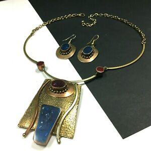 ARTISAN Necklace & Earring SET Brass Copper Purple Blue Orange Glass FUNKY KK99o