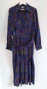 Marion Donaldson NWOT Vintage Blue Print 100% Wool Long Maxi Dress Size 16