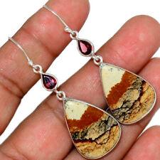 Amazing Picture Jasper & Garnet 925 Sterling Silver Earring Jewelry AE151653