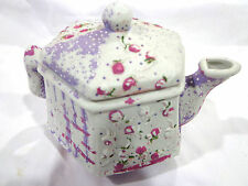 porcelain  tea pot/hand painted,purple and pink roses