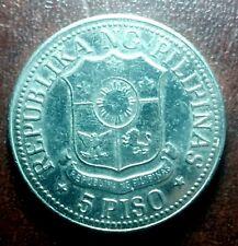 1975 5 Peso - Bagong Lipunan Marcos Coin Fine Details #E620-3