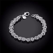 Sterling Silver Filled 8MM DOUBLE LINK CHAIN WOMENS GIFT Chunky Bracelet Bangle