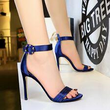 Women Stiletto High Heel Sandals Satin Rhinestone Open Toe Shoes Ankle Strap