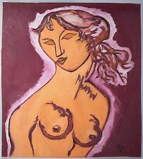 Hungarian Modern Oil Painting, Nude Portrait Monogramed & Illegible Signature
