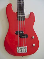 New 4 String Short Scale 3/4 size Electric Bass Guitar with Gig Bag Red
